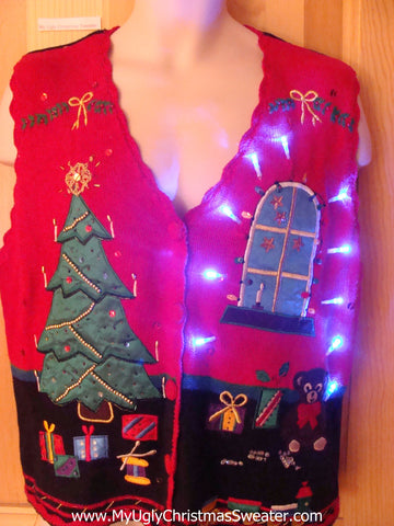 Funny Christmas Sweater with Lights Bling Vest