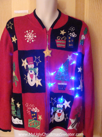 Funny Christmas Sweater with Lights Gifts, Trees, Star