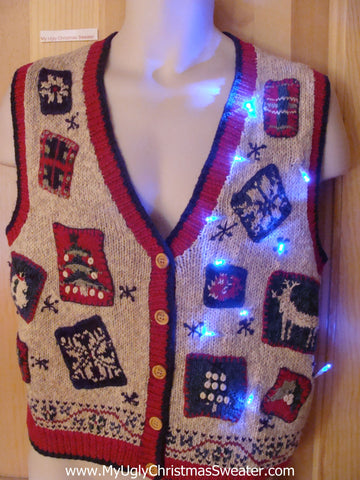 Funny Christmas Brown Sweater with Lights Nordic trim