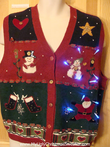 Funny Christmas Sweater Vest with Lights Hearts Star