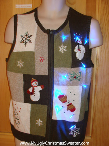 Funny Green Christmas Sweater Vest with Lights Snowmen