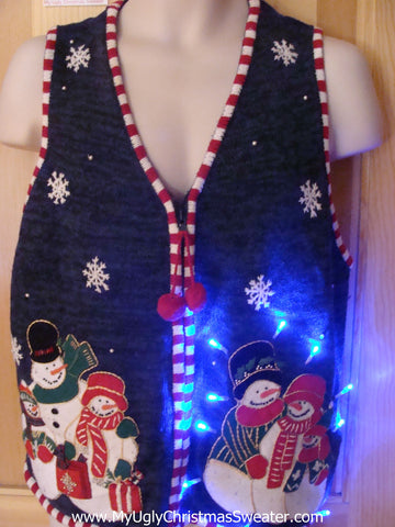 Funny Christmas Sweater Vest with Lights PomPom Zip Pull