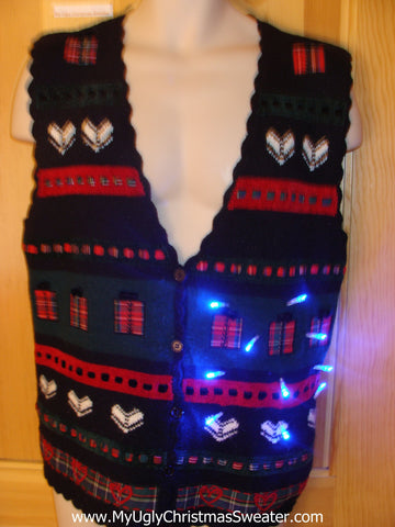 Funny Christmas Sweater Vest with Lights Hearts Gifts
