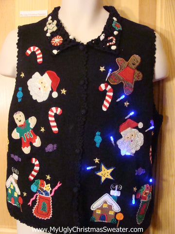 Christmas Sweater Vest with Lights Gingerbread Candycanes