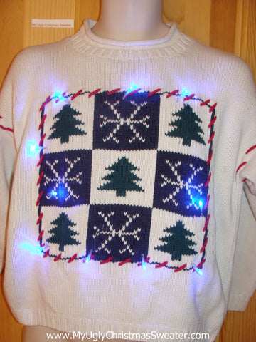 Funny Christmas Sweater with Lights Nordic Trees