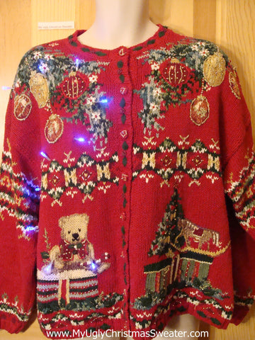 Funny 80s Christmas Sweater with Lights Horrible Patterns