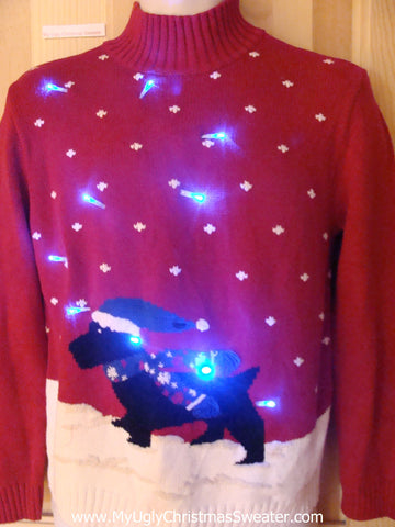 Funny Christmas Sweater with Lights Terrier Scottie Dog