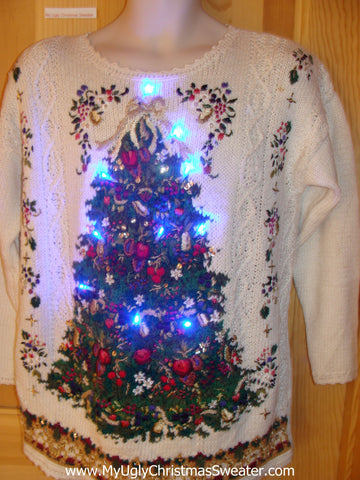 Funny 80s Christmas Sweater with Lights Huge Tacky Tree