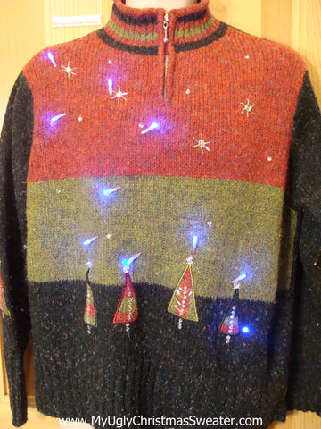 Festive Christmas Sweater with Lights Pointy Trees Stars