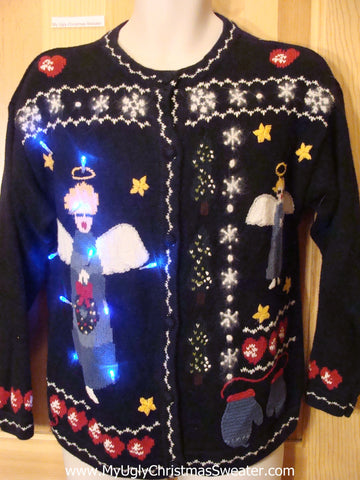 Funny Christmas Sweater with Lights Angels Mittens