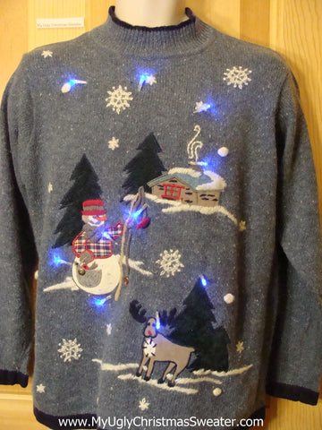 Funny Christmas Sweater with Lights Reindeer, Snowman