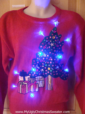 Funny 80s Christmas Sweater with Lights Bling Tree