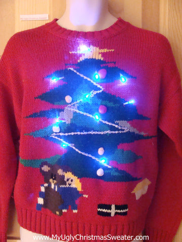 Funny Christmas Sweater with Lights 80s Tree with Bear
