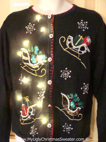Tacky Ugly Christmas Sweater Festive Bling Sleighs with Lights  (g115)