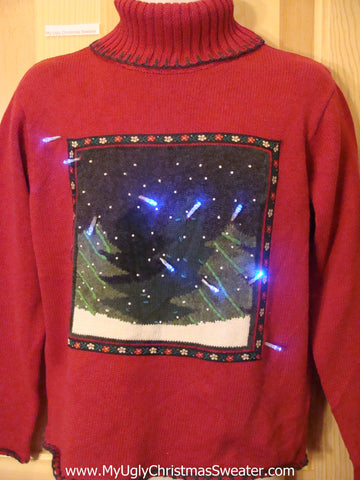 Funny Christmas Sweater with Lights Red Pullover