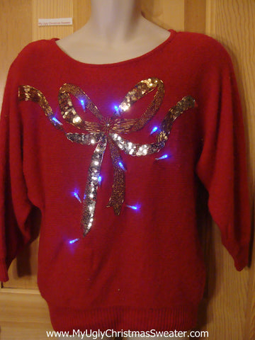 Funny Christmas Sweater with Lights 80s Glam Bow