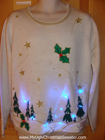 Funny Christmas Sweater with Lights Illuminated Forest