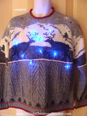 Vintage Style Reindeer Christmas Sweater with Lights