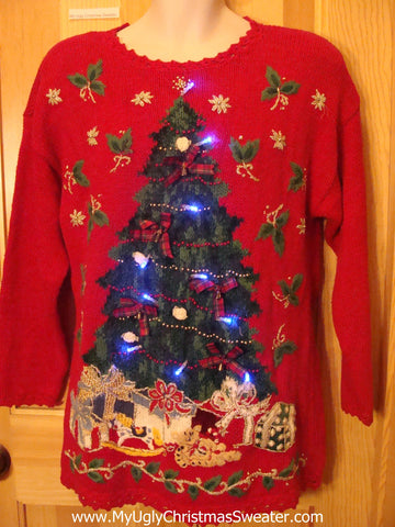 Funny 80s Christmas Sweater with Lights Huge Tree