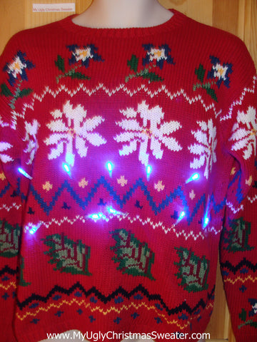 Funny Christmas Sweater with Lights 80s Style Poinsettias