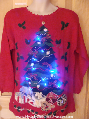 Funny 80s Pullover Christmas Sweater with Lights Tree 3D Bows