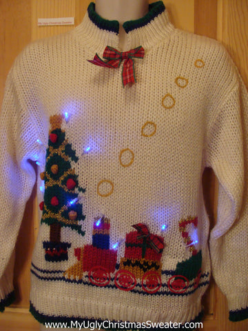 Funny Christmas Sweater with Lights 80s Train Blowing Smoke