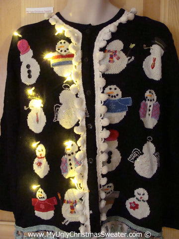 Tacky Ugly Christmas Sweater Snowmen Coming and Going with Lights and Pom Pom Trim  (g116)