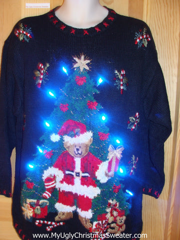 Funny Christmas Sweater with Lights 80s Style Bear Tree