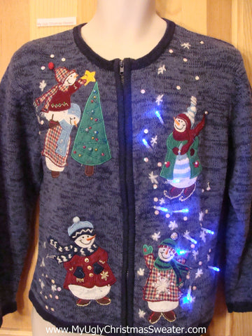 Funny Christmas Sweater with Lights Plaid Snowmen