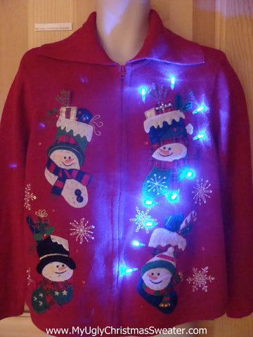 Funny Christmas Sweater with Lights Happy Snowmen