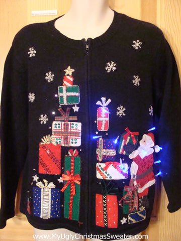 Funny Christmas Sweater with Lights Santa Stacking Gifts