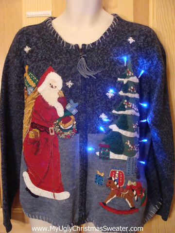 Funny Christmas Sweater with Lights Santa Rocking Horse