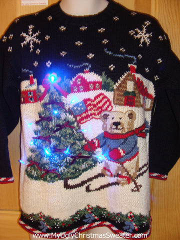 Patriotic Christmas Sweater with Lights Skiing Bear Flag