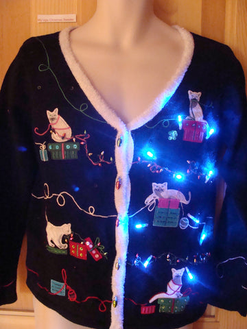 Crazy Cat Christmas Sweater with Lights