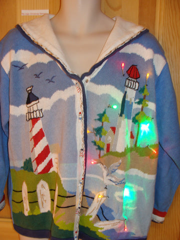 Funny Tropical Beach Themed Lighthouse Sweater with Lights