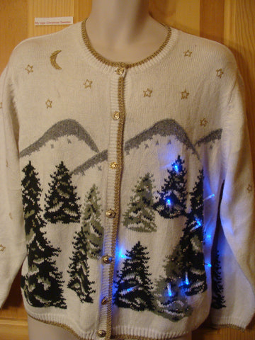Winter Christmas Sweater with Lights Forest Trees