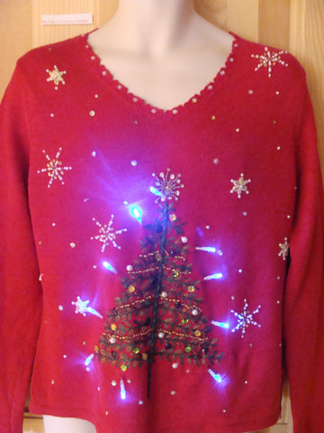 Funny Red Christmas Sweater with Lights Bling Tree