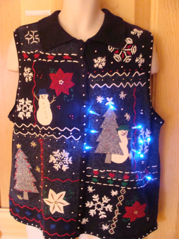 Funny Christmas Sweater Vest with Lights Crafty Trim