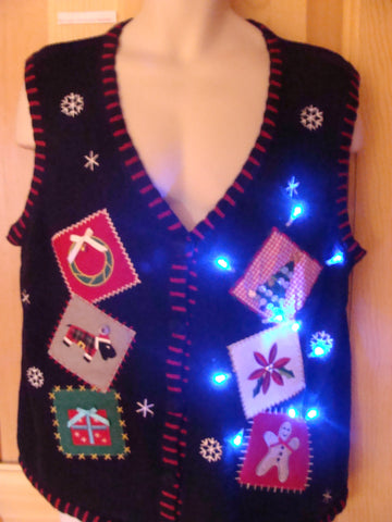 Funny Christmas Sweater Vest with Lights and Embroidery