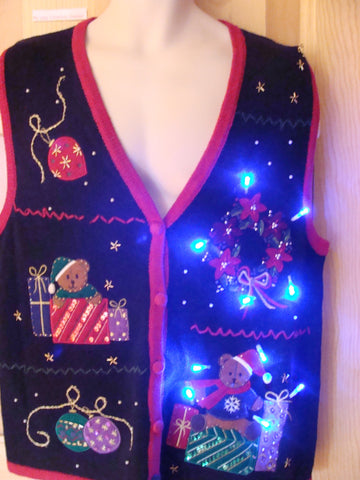 Funny Christmas Sweater Vest with Lights Bears, Wreath
