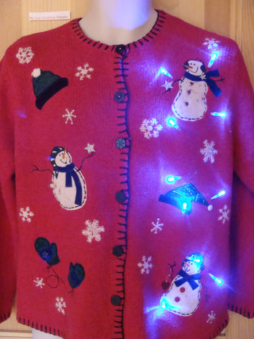 Funny Christmas Sweater with Lights Snowmen Toppling