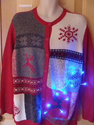 Funny Christmas Sweater with Lights Reindeer Snowflakes
