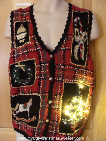 Tacky Ugly Christmas Sweater Vest with Lights  (g118)
