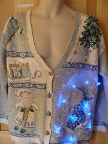 Funny Baby Blue Christmas Sweater with Lights Wierd Santas