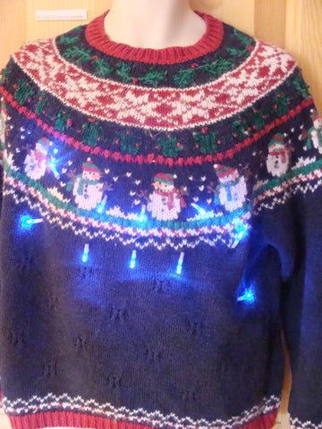 Funny Nordic Christmas Sweater with Lights Snowmen