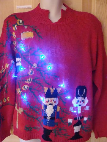 Funny 80s Christmas Sweater with Lights Nutcrackers