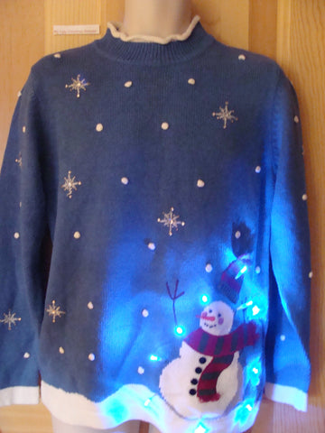 Funny Blue Christmas Sweater with Lights Snowman