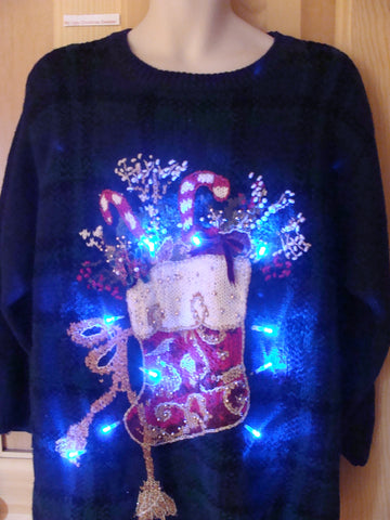 Funny  Plaid Christmas Sweater with Lights Ornate Stocking