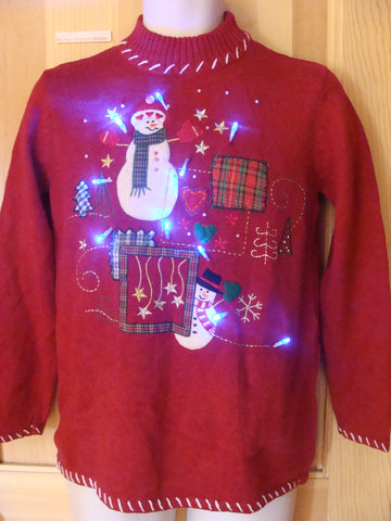 Funny Red Christmas Sweater with Lights Snowmen Stars