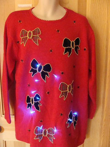 Funny 80s Red Christmas Sweater with Lights Plaid Bows